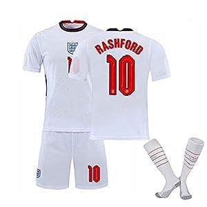イングランド 背番号10 サッカーユニフォーム上下セットホームジャージTシャツ+ショーツアジャージ高弾性快適通気性ングレプリカマッチ トレーニングチームスポーツウェア(Size:XL)