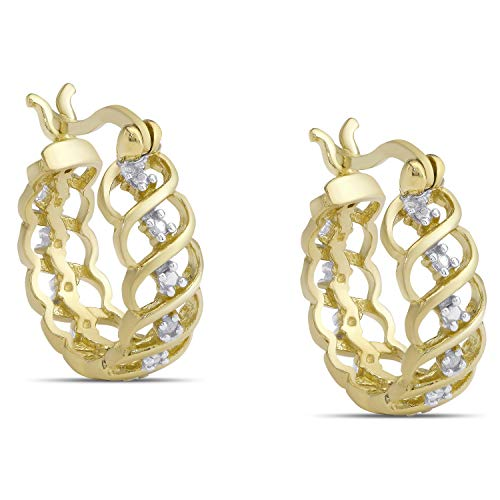 Victoria Townsend 925 Sterling Silver 18K Gold Plated Round Hoop Earrings for Women