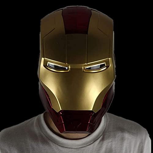 WXHJM Avengers 1/1 Iron Man Casco Máscara,Película del Juguete Traje de Cosplay Atrezzo,Modelo de Juguete Usable y Luminosa Adecuado para Halloween Mascarada del Partido,55 Cm
