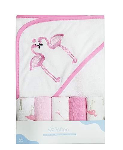 Toalla de baño con capucha y toallitas para bebé, Extra suave y ultra absorbente, Paquete de 6 regalos para recién nacidos y bebés, flamencos