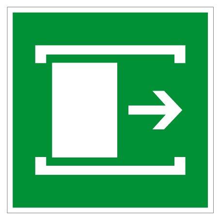 Fluchtwegschild aus Aluminium - Fluchtweg Tür schieben - 20 x 20 cm
