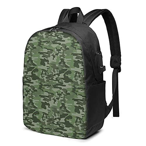 AOOEDM Mochila para portátil con puerto de carga USB, diseño de camuflaje verde bosque, bolsa de viaje clásica de 17 pulgadas para hombres y mujeres, escuela, colegio, ordenador