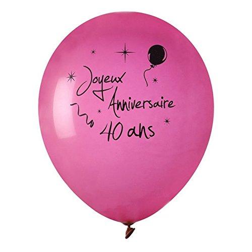 Chal - Ballon Joyeux Anniversaire Fuschia 40 Ans x 8
