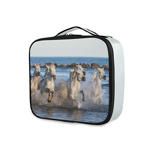 Beauty Aufbewahrungswerkzeuge Kosmetische Zugkoffer Make-up-Tasche Weiß Camargue Pferde Toilettenbeutel Reise tragbar