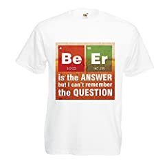 lepni.me Camisetas Hombre La Cerveza es la Respuesta! Científico Inteligente