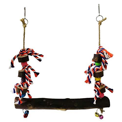 PURATEN Pet Swing Toy, houten kippenbaars schommel Kleurrijke hangende kippenspeelgoed voor kippen vogel papegaai klimmen grote vogel papegaai Lovebird Training, 1
