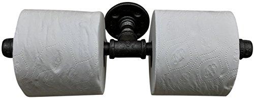 DIY Kartel Industrie-Rohr Mehrrolle Toilettenpapierhalter schwarz Eisen – kommerziell/strapazierfähig – Stil: modern, Vintage, rustikal, Steampunk, und Bauernhaus Möbel/Dekor (2 Rollenhalter)