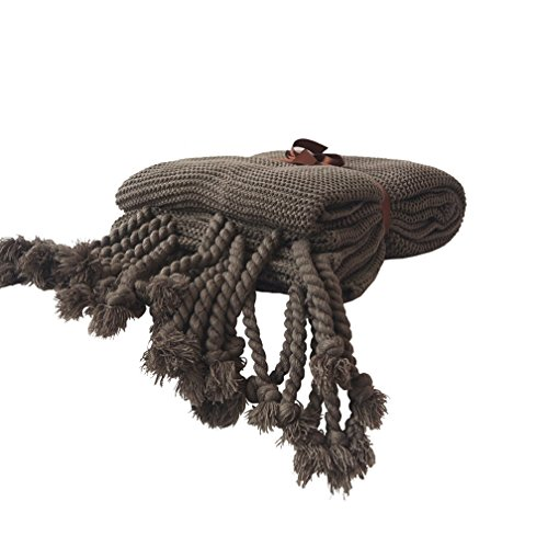 """Knit Throw Blanket, Household Decorative Tassel Crochet Blanket Rug for Bedroom Sofa/Bed/Couch/Car/Living Room/Office (51.18"""" W×62.99"""" L, Grey)"""