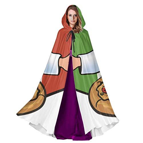 WYYWCY Cook Pizza Auf Italienische Flagge Großen Mantel Für Erwachsene Kind Kapuzenmantel 59 Zoll Für Weihnachten Halloween Cosplay Kostüme