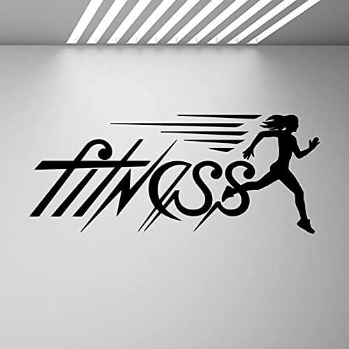 Kjlfow Calcomanía de Pared para Correr Fitness, Logotipo de Gimnasio para Chica, póster para Correr, Pegatina de Vinilo para Corredor de Fitness, decoración de Pared inspiradora, Arte 102x42cm
