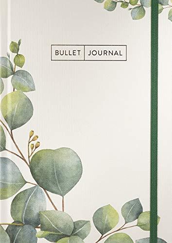 """Bullet Journal \""""Leaves\"""" 05 mit original Tombow TwinTone Dual-Tip Marker 86 mint black : Mit Punkteraster, Seiten für Index, Key und Future Log sowie ... praktischem Verschlussband und Innentasche"""