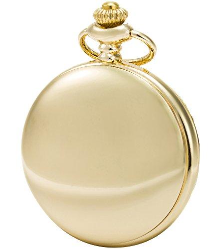 Sewor Modische Quarz-Taschenuhr mit doppelter Kette aus Metall und Leder, glatte Oberfläche, Muschel-Zifferblatt, japanisches Quarzuhrwerk … (Gold)
