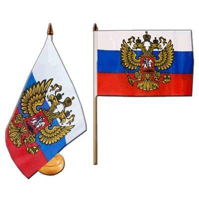 Flaggenfritze® Tischflagge Russland mit Wappen mit lackiertem Holzsockel