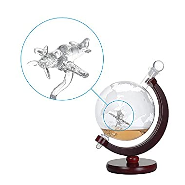 NEX Whiskey Decanter Set 1500ml Liquor Decanter World Etched Globe Decanter with Crafted Glass Airplane, House Warming Presents, Valentine's Day Gifts