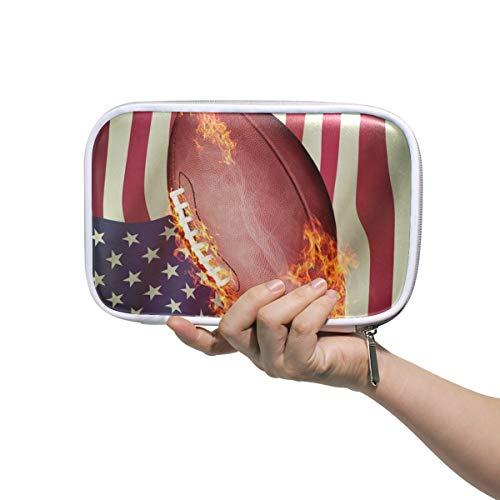 CPYang Federmäppchen/Federmäppchen mit Reißverschluss, amerikanische Fußball-Flagge, für Kosmetik, Make-up, Pinsel, Schreibwaren, Stiftebox, Reisepass