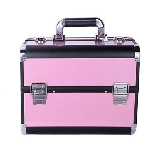ZCPDP Boîte À Outils De Maquillage pour Les Ongles Pliants Imperméable Grande Capacité Multi-Couche Double Poignée Ouverte Serrure Détachable Maquillage,Pink,32X22X26cm