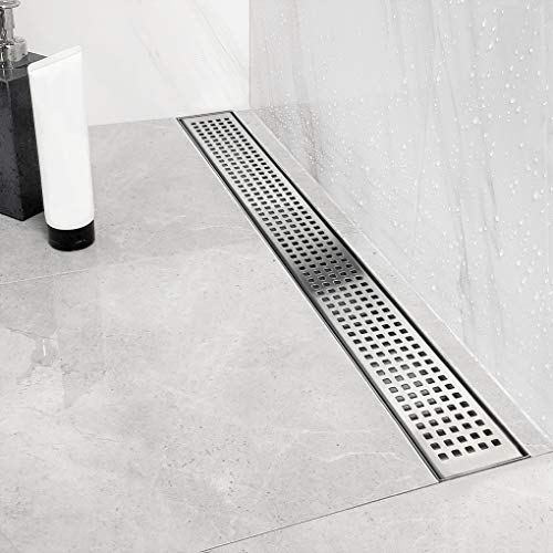 Neodrain 24-Inch Linear Shower Drain with Quadrato Pattern Grate,Professional Brushed 304 Stainless Steel Rectangle Shower Floor Drain Manufacturer,With Leveling Feet,Hair Strainer