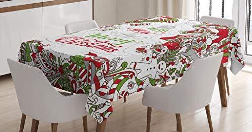 ABAKUHAUS Natale Tovaglia, Wishes Santa Snowman, Rettangolare per Sala da Pranzo e Cucina, 140 x 200 cm, Multicolore
