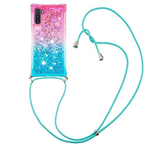 Miagon Galaxy Note 10 Glitzer Flüssig Halskette Hülle,Flüssigkeit Treibsand Kordel zum Umhängen Necklace Crossbody Cover mit Band Schnur Case für Samsung Galaxy Note 10