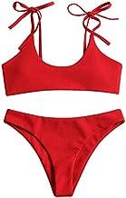 ZAFUL Women's Sexy Tie Shoulders Ribbed Bikini Set Padded Strap Triangle Swimsuit(Red,S)