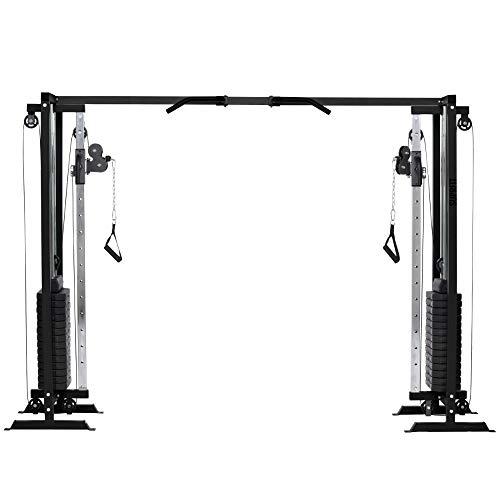 Suprfit Seilzug Fitnessturm als Kabelzugstation inkl. Gewichten bis 81 Kg Zuglast je Seite, Kabelzugturm mit Klimmzugstande & Griffen, Ergänzung zum Latzugturm für Kraft- & Muskelwachstum - 298x200cm