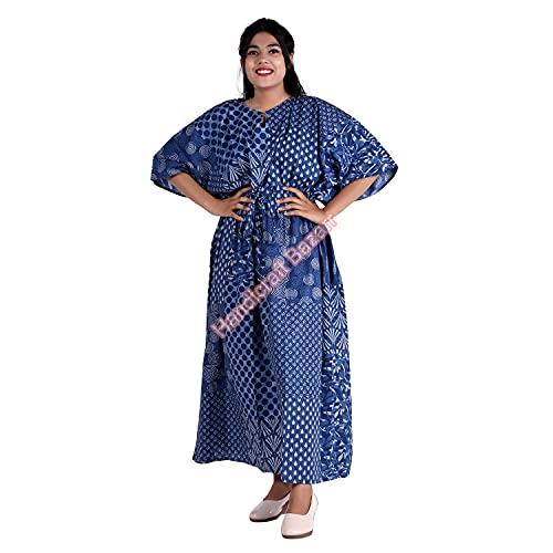 Handicraft Bazarr Bikini Cover Up Kaftan Blumendruck Nachthemd Hippie Nachtwäsche Kleid Baumwolle Kaftan Robe Lingerie Cover Up Lose Bademode Kaftan