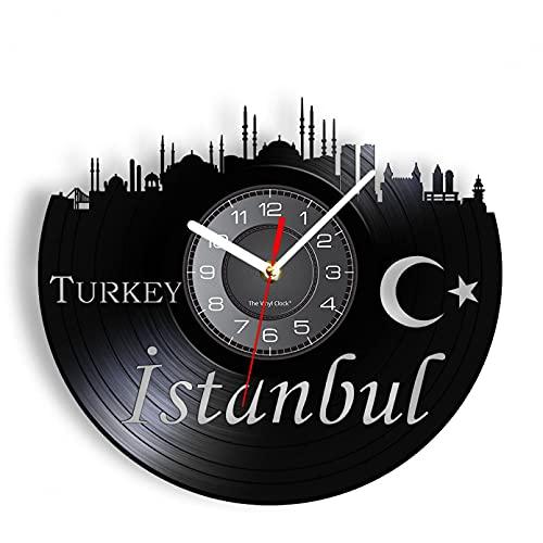 Reloj de Pared de Vinilo de Estambul, Vista de la Ciudad turca, decoración del hogar y la Oficina, Reloj de Bolsillo silencioso, Ilustraciones de la Luna y la Estrella