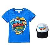 Superzings Camiseta Popular con Dibujos de impresión de Manga Corta Camiseta de la Gorra de béisbol + Classic Movimiento Estilo niños y niñas (Color : A01, Size : 130)