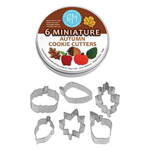 R&M International 1991 Mini Autumn Leaf Cookie Cutters, Acorn, Pumpkin, Oak, Maple, Aspen, Apple, 6-Piece Set in Gift Tin