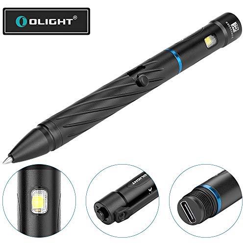 OLIGHT OPEN 2 Stiftlampe Kugelschreiber mit EDC Taschenlampe 120 Lumen 16 Metern Reichweiten, Wiederaufladbare Stiftlampe mit USB-C Kabel, Perfekt für den Alltag, Patrouille, Reisen und mehr