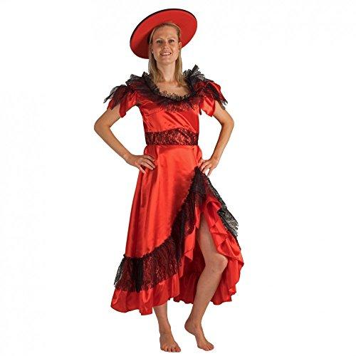 Krause & Sohn Disfraz de Mujer. Vestido Andaluz de Andalucía. Rojo/Negro. Flamenco. Bailarina de Argentina. Flamenco. (44)