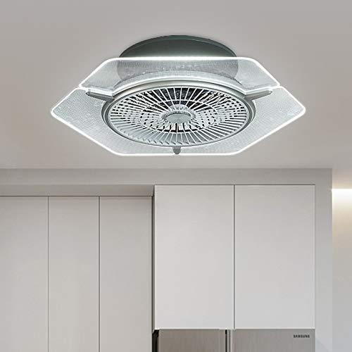 Moderno ventilador de techo LED con iluminación inteligente de 3 colores y ventilador de techo de 3 velocidades, velocidad del viento, lámpara de techo con mando a distancia para iniciar el dormitorio