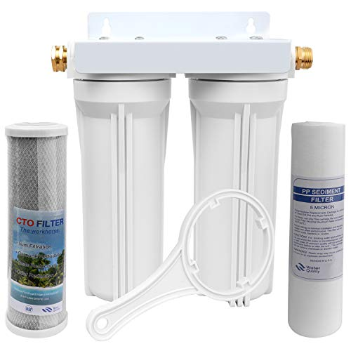 OKBA RV Water Filter System,External RV Dual Water Filtration System for RVs Boats Marines Motorhome with Two Filters,Improve Taste& Reduces Odor and Sediment