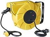 Brennenstuhl Enrouleur Electrique Automatique 20m+1,5m de câble H05VV-F 3G1,5 (IP44, montage mural, pivotant), Jaune & Noir