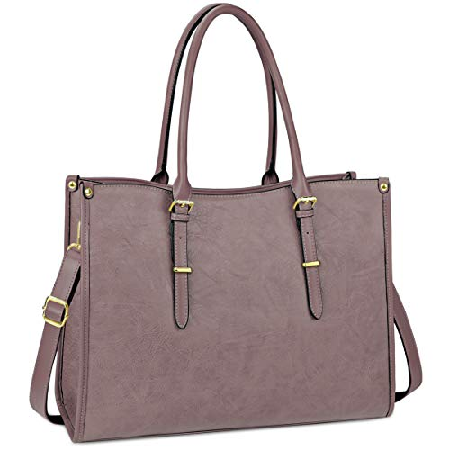 [$26.23 - 33.03] Laptop Bag for Women 15.6 Inch Lightweight Leather Laptop Tote Bag Briefcase