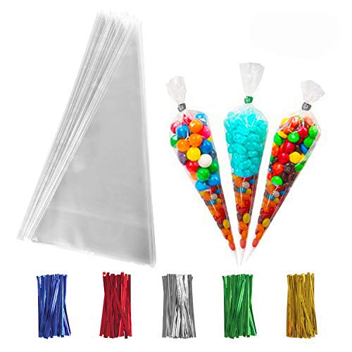 200 PCS Clear Cone Treat Bags Cellophane Cone Treat Bags Plastic Cone Bags Triangle Bags with 200 PCS Twist Ties 5 Mix Colors for Favor Candy Popcorn Handmade Cookies