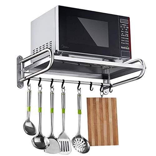 Kitchen Storage, Kitchen Shelf,Kitchen Storage 304 Stainless Steel Wall-mounted Microwave Oven Racks Kitchen Storage Rack Length 53cm / 58cm - With 8 Hooks Multifunction Utensils Storage Shelf Cutlery