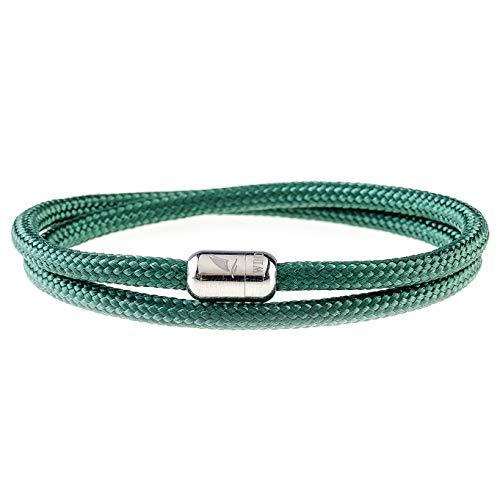 Wind Passion Armband Grün Paracord Nautic mit Edelstahl Magnetverschluss für Männer und Frauen, Größe Large