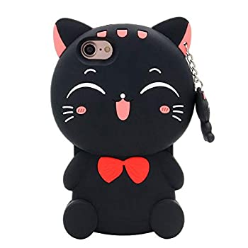 for iPhone SE 2020 Case iPhone 8 Case iPhone 7 Case iPhone 6S Case iPhone 6 Case 3D Cute Cartoon Lucky Fortune Cat Kitty Shaped Soft Silicone Case Cover for iPhone SE 2020-4.7   Lucky Cat Black