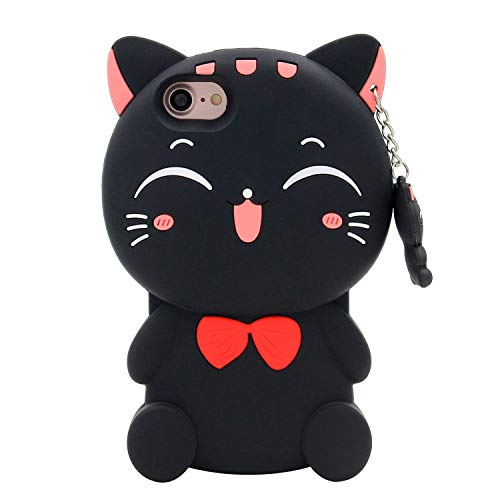 iPhone 6 Case, iPhone 6S Case, 3D Cute Cartoon Lucky Fortune Cat Kitty Shaped Soft Silicone Case Back Cover for iPhone 6 / 6S (4.7' Inch) (Lucky Cat Black)