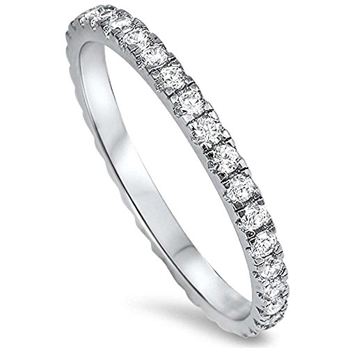 New Round Cubic Zirconia Eternity Style Band .925 Sterling Silver Ring Size 7