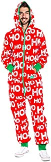 Image of Cozy Red Hooded Ho Ho Ho Onesie Christmas Pajamas for Men