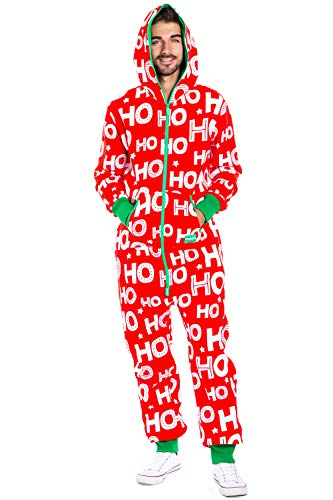 Men's Cozy Christmas Onesie Pajamas - Red HoHoHo Holiday Spirit Adult Cozy Jumpsuit: Large