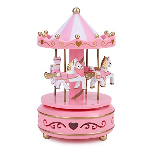 Qchomee Windup 4-häst roterande karusell klassisk musiklåda Merry-go-round med färgglada förändringar LED lysande ljus melodi Artware födelsedag jul festival musikalisk present hemtillbehör