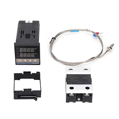 Controlador de temperatura PID REX-C100, 0-400 ℃ Kit de termostato de controlador de temperatura PID LED digital AC 110V-240V con sensor de termopar/temperatura K, SSR Max25A