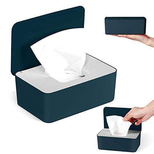 Dispensador de Toallitas Húmedas, 18,5 x 12,2 x 7 cm Caja para Toallitas Húmedas, Caja de Almacenamiento de Pañuelos a Prueba de Polvo para Oficina en Casa (Corazón blanco azul)