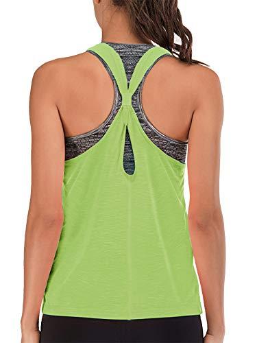 FAFAIR Camisetas de Tirantes de Tenis para Mujer 2 en 1 con Sujetador Integrado Fitness Camiseta Larga de...