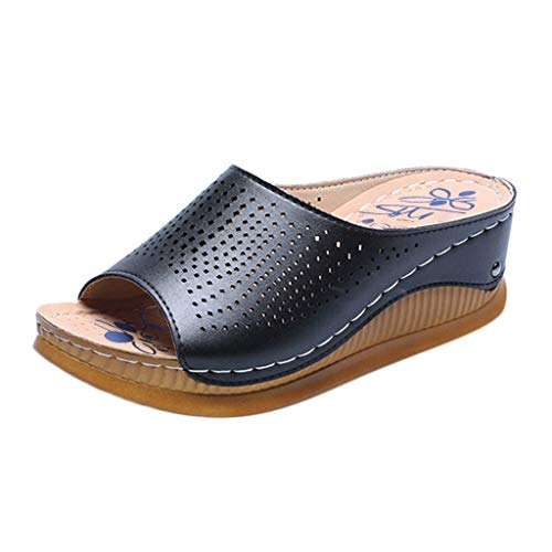 Sandalias Cuña Mujer Verano Plataformas Chanclas Correa de Tobillo Zapatillas de Boca de Pescado Casual Retro Transpirable Zapatos de Playa Pisos 35-40 riou