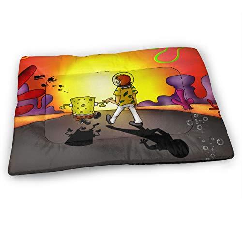 KANKANHAHA Cartoon Sunset Spongebob Schwammkopf Hundebett Matte Weiche Kiste Pad waschbar Anti-Rutsch-Matratze für Hunde und Katzen