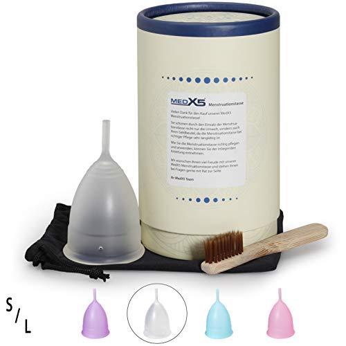 MedX5 Menstruationstasse aus medizinischem Silikon, Menstruationskappe inkl. Reinigungsbürste, Beutel und Geschenkbox, Größe: S, Farbe: Transparent - 2